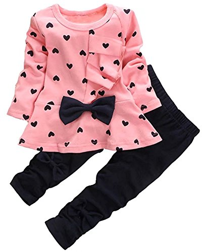 (Baby Girl Clothes Infant Outfits Set 2 Pieces with Long Sleeved Tops + Pants (3-4 T,)
