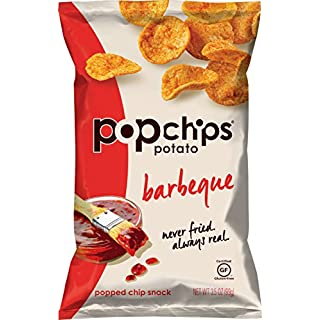 Popchips Potato Chips, BBQ Potato Chips, 6 Count (3.5 oz Bags), Gluten Free Potato Chips, Low Fat, No Artificial Flavoring, Kosher