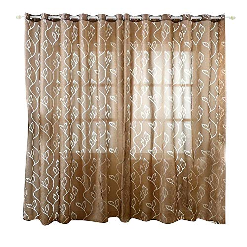 dezirZJjx Window Curtains, Blackout Curtains,Living Room Valance Decor Elegant Leafs Bubble Grommet Top Window Cloth Curtain - Coffee