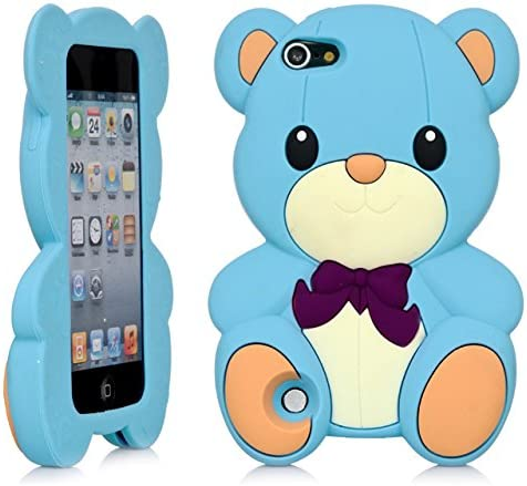 Amazon Com Ipod Touch 3d Teddy Bear Cartoon Silicone Full Cover Case For Apple Ipod Touch 6th Gen 5th Gen Blue