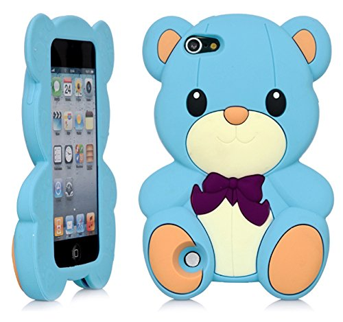 iPod Touch, 3D Teddy Bear Cartoon Silicone Full Cover Case for Apple iPod Touch 6th Gen 5th Gen (Blue)