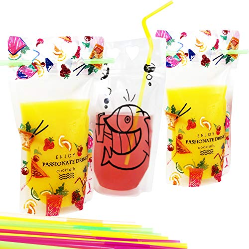 - Kamenia 100pcs Reusable Drink Pouches with Straws, Zipper Plastic Bags, clear smoothie bag container, Leak-Proof and Practical, Ideal for Hot, Cold and frozen blood Drinks, juice, straw