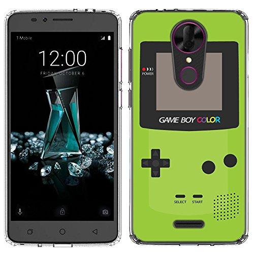 (Tmobile Revvl Plus Case [Green GameBoy](Clear) PaletteShield Flexible Slim TPU skin phone cover (fit Tmobile Revvl Plus))