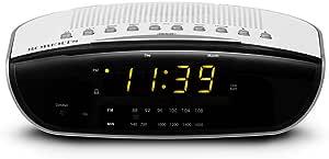 Roberts Radio CR9971 Chronologic Vi Dual Alarm Clock Radio with Instant Time Set, Amber Display - White