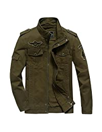 Tawill Men's Casual Field Front Zip Jacket Cotton Military Jacket