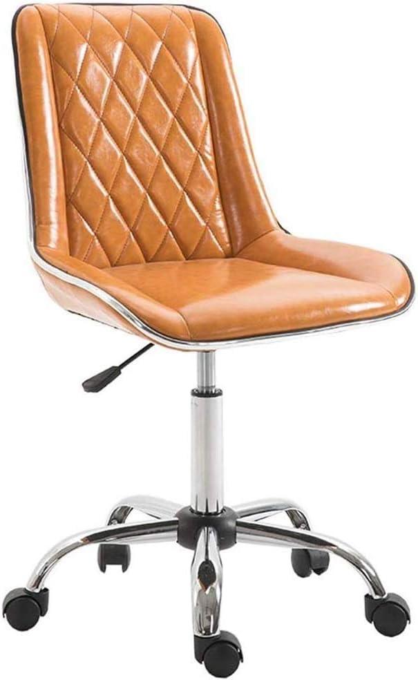Ergonomische draaibare stoel kantoor zonder armleuningen, werken met lage rug PU leer, 8 cm in hoogte verstelbare stoelen, stalen basis (kleur: bruin) B