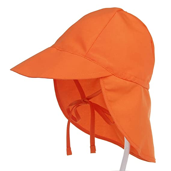 b4289e5b Baby Toddler Kids Sun Hat UV Protection Beach Swim Hats Neck Flap, Orange,  S: Amazon.ca: Clothing & Accessories