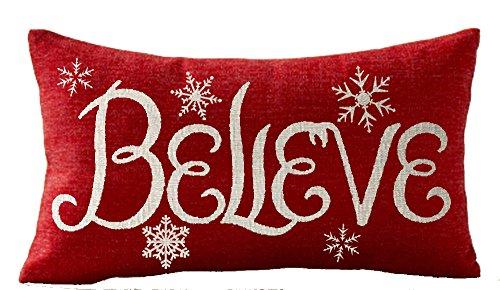 Happy winter believe snowflake cotton Linen Square Throw Pillow Case Decorative Cushion Cover Pillowcase Sofa 12x 20