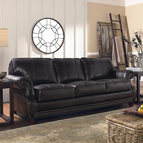 sofa hand rubbed soft brown leather solid wood frame luxurious