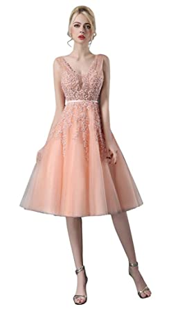 Vimans Womens Short Pink V Neck Sequined Lace Prom Dress Evening