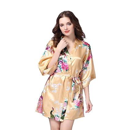 Las mujeres de Satén batas de seda batas de encaje pijamas larga falda de dormir sexy
