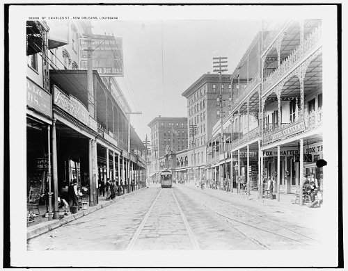 Photo: Saint Charles Avenue, roads, streets, buildings, tracks, New Orleans, Louisiana, c1890 . - At Shopping New Orleans