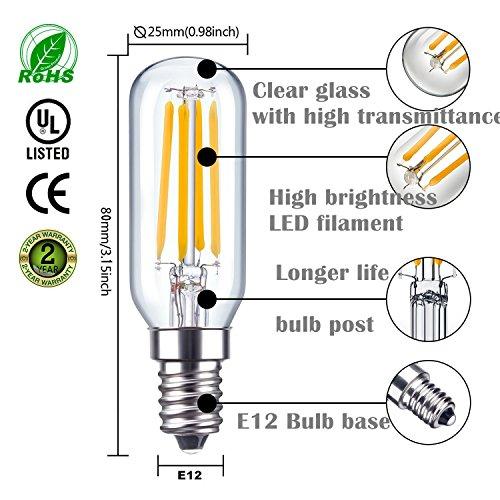 KunstDesign LED Candelabra Bulb 4W 6Pack LED Bulbs Dimmable 3000K Warm White Bulb with 400 Lumen, E12 LED Bulb Candelabra Base 40 Watt Equivalent T25 Tubular Bulbs Shape by KunstDesign (Image #5)