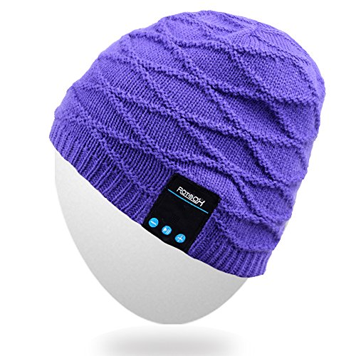 Rotibox Winter Washable Bluetooth Music Beanie Luxury Soft Warm Skully Knit Hat Cap w/Wireless Headphone Headset Earphone Microphone Hands Free for Excrise Gym Sports Fitness Running Skiing - Purple