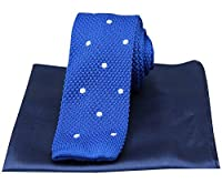 Royal Blue/White Spotted Thin Knitted Silk Tie and Plain Handkerchief Set by David Van Hagen