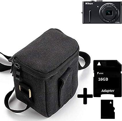 K-S-Trade® Para Nikon Coolpix P300 Cámara Bolsa Funda De Hombro Estuche Bolso Compacto Resisten A Los Golpes Protección, Negro + 16GB Tarjeta De Memoria: Amazon.es: Electrónica