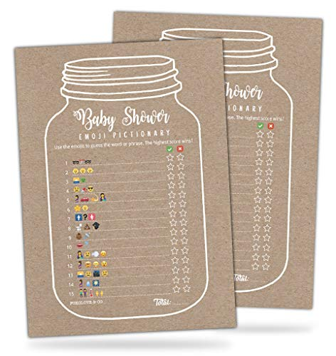 30 Mason Jar Emoji Pictionary Baby Shower Games- Cute Fun Baby Shower Game to Play for Girls, Boys or Gender Neutral Shower Party - Baby Guessing Game Idea for Women, Men, Mommy, Daddy, Adults & Kids