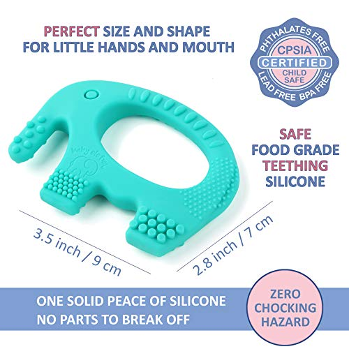 Baby Teething Toys - BPA Free Silicone - Easy to Hold, Soft and Highly Effective Cute Elephant Teether - Best Unique Easter Gifts - Teethers Toy for Freezer