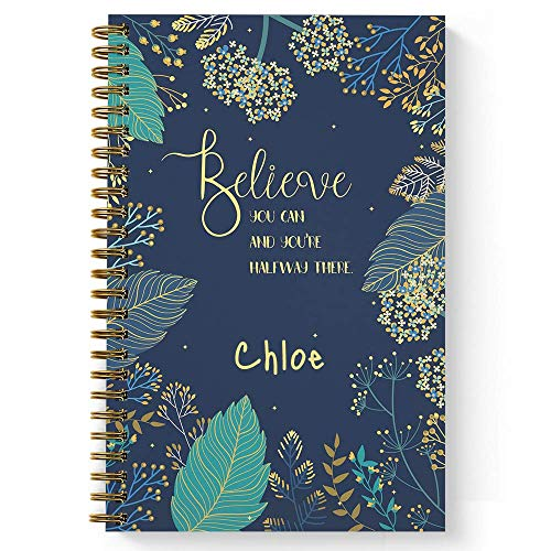 "Believe You Can Personalized Motivational Notebook/Journal, Laminated Soft Cover, 120 Dot Grid pages, lay flat wire-o spiral. Size: 5.5"" x 8.5"". Made in the USA ()"
