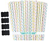 Pastel Polka Dot Paper Straws - Pink Yellow Light Blue Mint Green - 7.75 Inches - 100 Pack - Outside the Box Papers Brand