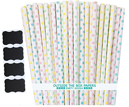 Outside the Box Papers Light Blue, Pink, Yellow and Mint Green Polka Dot Paper Straws 7.75 Inches 100 Pack Light Blue, Pink, Mint Green, Yellow