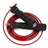 Cheap Adjustable Speed Jump Rope for Crossfit, MMA, Boxing, Fitness Training, WOD; Skipping, Double Unders; Ball Bearings; Anti Slip Handles; Includes Free Carrying Bag, 2 10ft Rope Cables (1 Red, 1 Black)