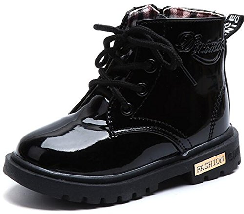(DADAWEN Boy's Girl's Waterproof Side Zipper Lace-Up Ankle Boots (Toddler/Little Kid/Big Kid) Black US Size 12 M Little)