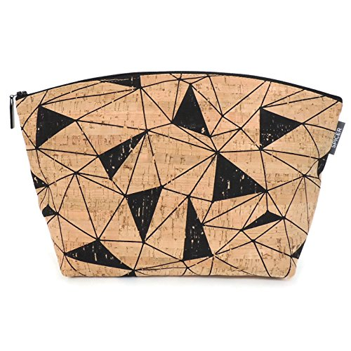 Extra Large Makeup Pouch in Black and Tan Printed Cork by Spicer Bags by SPICER BAGS