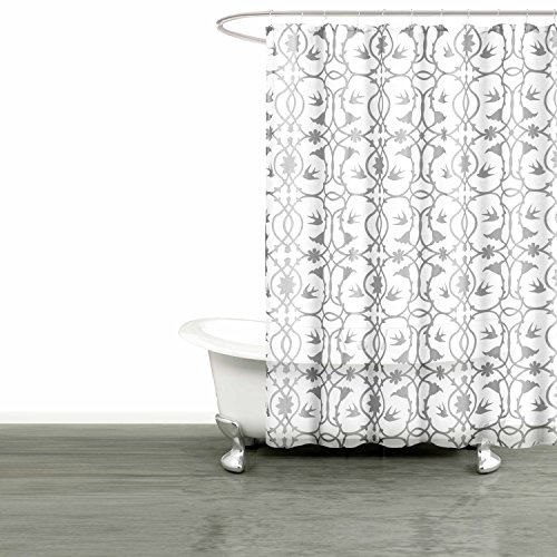 (Bathroom and More Collection SHEER Fabric Shower Curtain White with Gray Bird, Flower & Vine Design (Shower Curtain 78in L))