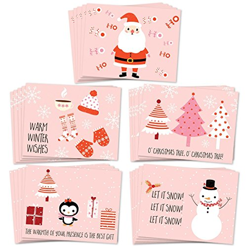 25 Holiday Greeting Cards, Assortment of 5 Jolly Pink Christmas Designs, Premium Card Set with Envelopes to Send Warmest Season's Greetings, 25 Mixed Assorted Boxed Cards, Great Value by Digibuddha