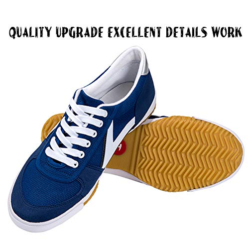 DOUBLESTAR MR Classic Kung Fu Shoes for Martial Arts Parkour Lightweight Sneaker with Rubber Sole-Blue US 11Men/ US 11.5 Women