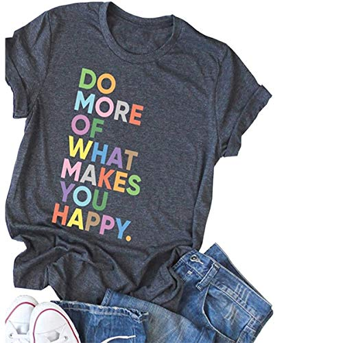 Deyuanjiagou Women's Fun Happy Graphic Tees Summer Cute Round Neck Short Sleeve Letter Printed T-Shirts Dark Grey