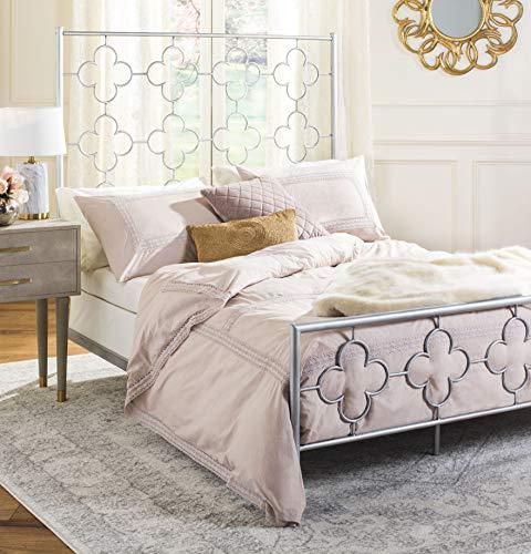 Safavieh FOX6297B-F Morris Lattice Metal Bed, Full, Antique Silver (Lattice Safavieh)