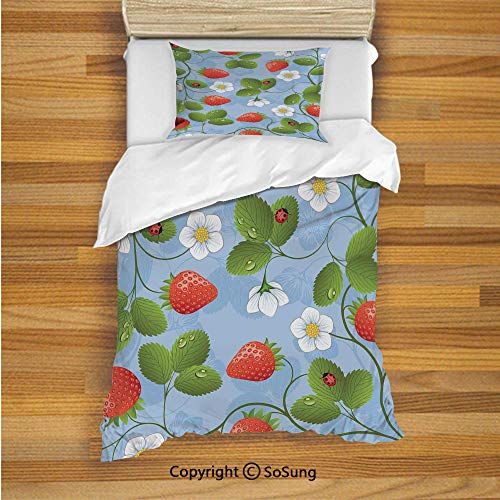 Ladybugs Kids Duvet Cover Set Twin Size, Strawberries Daisies and Ladybugs Looks Like Ivy Plant Spotted Insects Image 2 Piece Bedding Set with 1 Pillow Sham,Blue Green Red