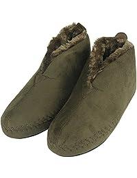 Forfoot Unisex Women's Men's Soft Suede Fleece Lining Indoor Non Slip Slipper Booties House