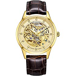STARKING Men's AM0188GL98 Gold Skeleton Automatic Watch with Brown Leather Strap