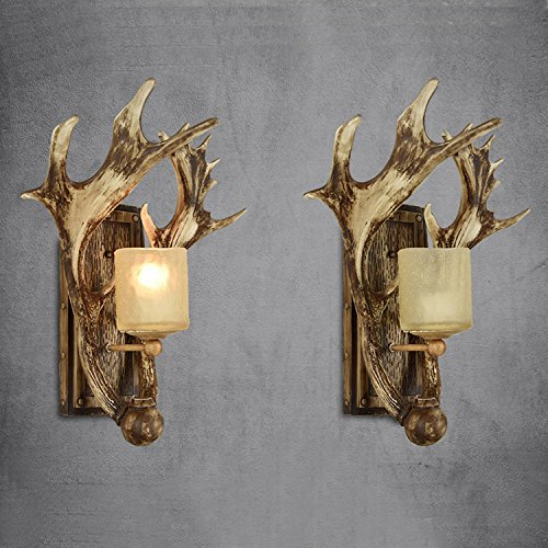 Qiaoba- American Retro Living room Bedroom Antlers Wall lights Art Decoration ,Khaki - Antler Wall Sconce