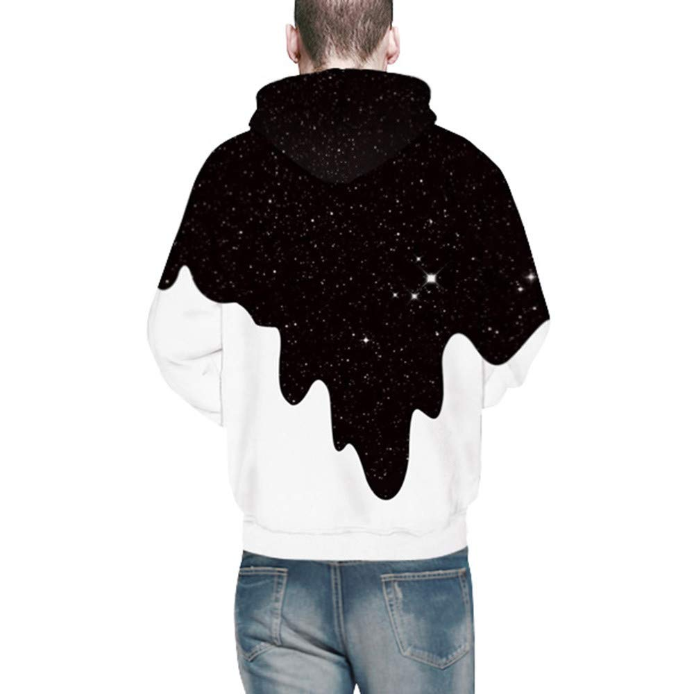 Amazon.com: Kimloog Mens Novelty Pouring Milk 3D Galaxy Print Long Sleeve Hoodieds Pullover: Clothing