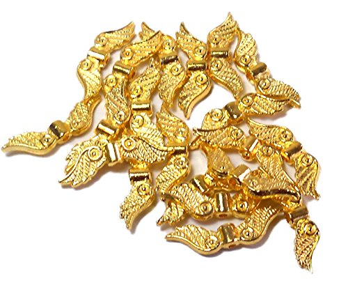 Bright Pewter Parts (40 Angel Wings Bright Gold Coat Cast Pewter Metal Beads 1 Inch 23x6mm)