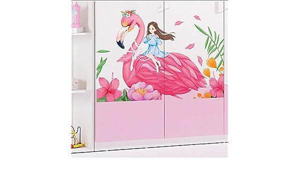 Etiqueta De La Pared Dibujos Animados Big Flamingo Y Niñas Pegatinas De Pared Para Niños Habitación Decoración De La Habitación De La Niña Decoración Del Hogar Diy Mural Art Decal Stick En
