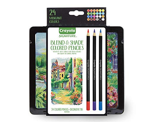 Crayola Blend & Shade Colored Pencils, Professional Style Colored Pencils, Soft Core, 24Count