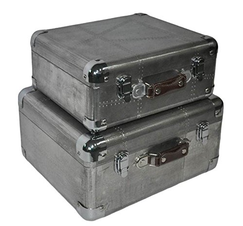 Antique Leather Luggage (Cheung's FP-3648-2 Wooden Set of 3 Small Trunk-Linen, Silver, 2 Piece)