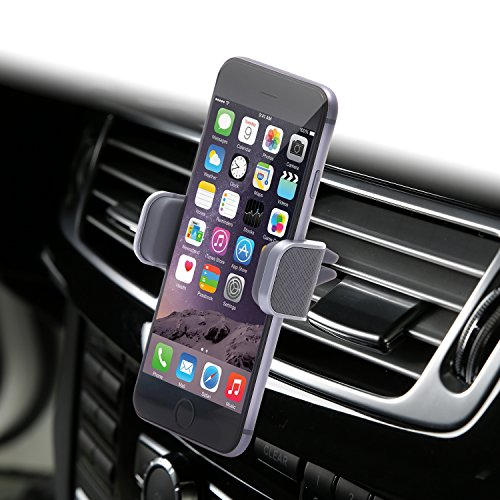 Dash Crab Mono, Genuine Leather Cell Phone Car Mount, Luxury Premium Air Vent Car Mount Holder Cradle for iPhone 7 Plus 6 6s Plus Samsung Galaxy S7 S6 Edge Note 5, Universal Grip, Retail Pack (Grey) ()