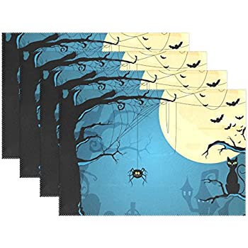 OPRINT Halloween Moon Owl Spider Placemat Table Mat Vintage Art Polyester Table Place Mat for Kitchen Dining Room 12 x 18 Inch 1 Piece