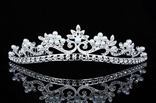 Flower Ribbon Bridal Wedding Prom Tiara Crown - Faux pearls silver plated T726 by Venus Jewelry ()