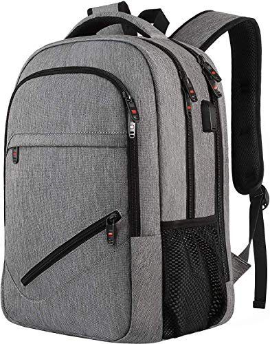 Laptop Backpack,Business Travel Slim Durable Laptops Backpack with USB Charging Port,Water Resistant College School Computer Bag for Women & Men Fits 15.6 Inch Laptop and Notebook - Grey