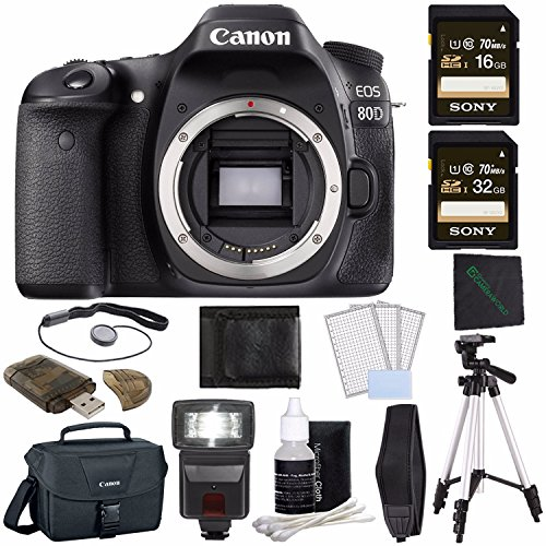 Canon EOS 80D DSLR Camera (Body Only) + Sony 16GB SDHC Card + Sony 32GB SDHC Card + Tripod + Flash + Canon EOS Shoulder Bag 100ES + Card Reader + Cloth + Camera Neck Strap Bundle -  GreensCameraWorld, 1263C004--1
