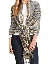 Sakkas 16126 - Liua Long Wide Woven Patterned Design Multi Colored Pashmina Shawl / Scarf - Grey - OS