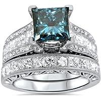 phitak shop Fashion 925 Silver Ring Set Princess Cut Aquamarine Wedding Engagement Size 6-12 (6)
