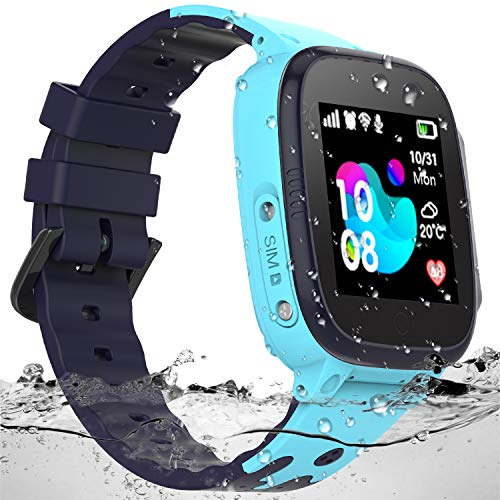 SZBXD Kids Waterproof Smart Watch - Boys & Girls Smartwatch Phone with Camera Games Touch Screen SOS Call Voice Chatting Christmas Birthday Gift (Blue) (Best Emergency Phone For Kids)